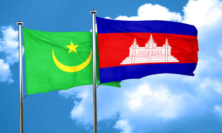 cambodian: Mauritania flag with Cambodia flag, 3D rendering
