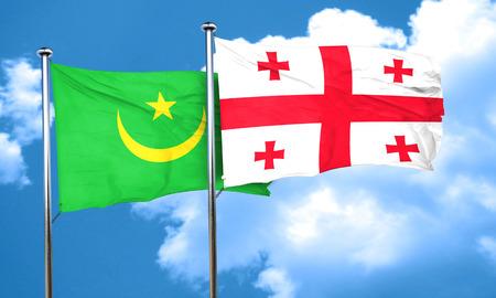 mauritania: Mauritania flag with Georgia flag, 3D rendering