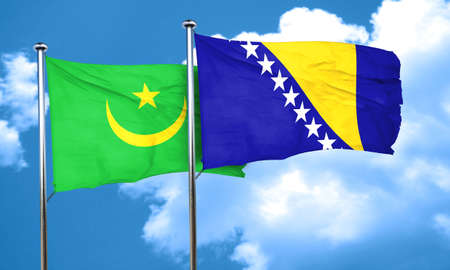 mauritania: Mauritania flag with Bosnia and Herzegovina flag, 3D rendering Stock Photo