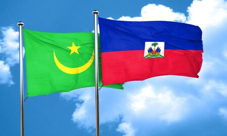 haiti: Mauritania flag with Haiti flag, 3D rendering Stock Photo