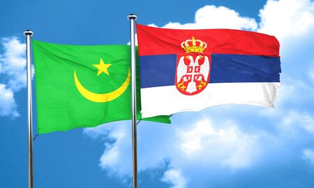 serbia flag: Mauritania flag with Serbia flag, 3D rendering