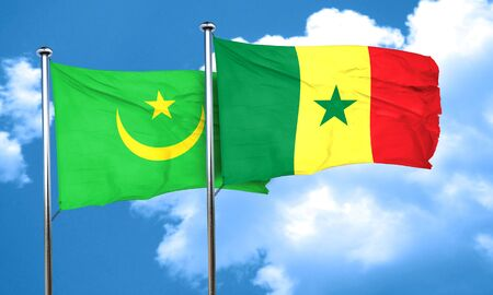 senegal: Mauritania flag with Senegal flag, 3D rendering Stock Photo
