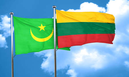 mauritania: Mauritania flag with Lithuania flag, 3D rendering