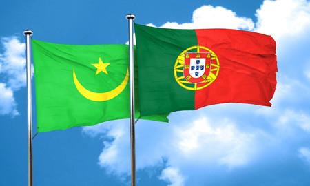 drapeau portugal: drapeau de la Mauritanie avec le Portugal drapeau, rendu 3D Banque d'images