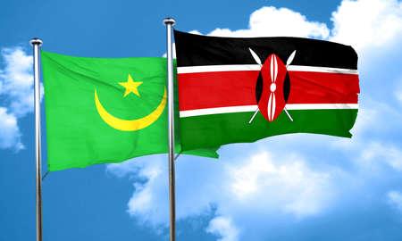 kenya: Mauritania flag with Kenya flag, 3D rendering