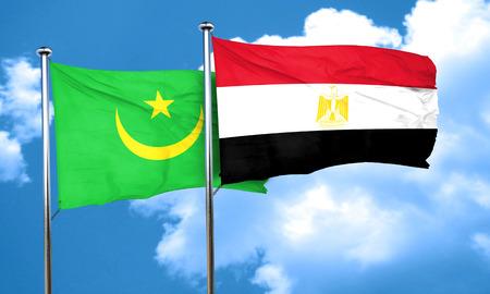 bandera egipto: Mauritania flag with egypt flag, 3D rendering