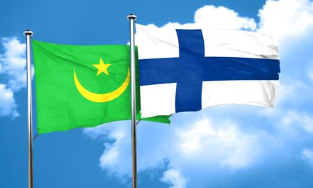 mauritania: Mauritania flag with Finland flag, 3D rendering