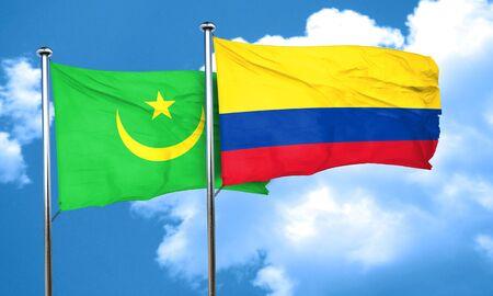 bandera de colombia: bandera de Mauritania con la bandera de Colombia, 3D Foto de archivo