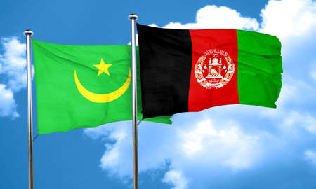 afghanistan flag: Mauritania flag with afghanistan flag, 3D rendering