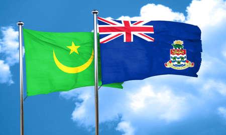 cayman: Mauritania flag with Cayman islands flag, 3D rendering