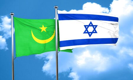 mauritania: Mauritania flag with Israel flag, 3D rendering Stock Photo