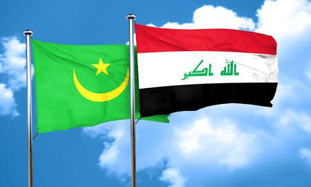 mauritania: Mauritania flag with Iraq flag, 3D rendering
