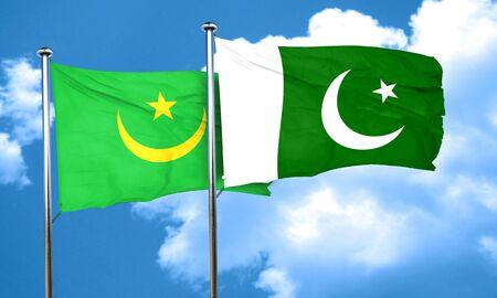 mauritania: Mauritania flag with Pakistan flag, 3D rendering