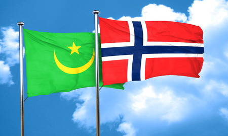 norway flag: Mauritania flag with Norway flag, 3D rendering