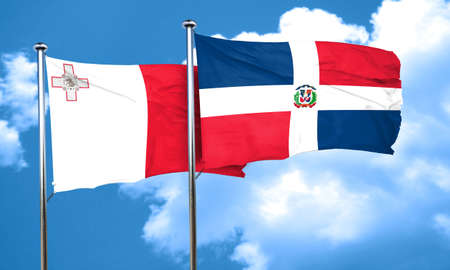 malta flag: Malta flag with Dominican Republic flag, 3D rendering
