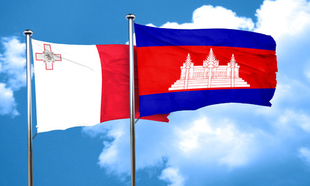 cambodian: Malta flag with Cambodia flag, 3D rendering