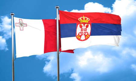 serbia flag: Malta flag with Serbia flag, 3D rendering