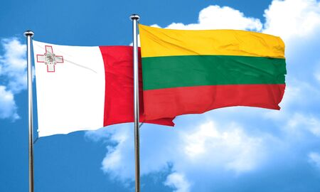 malta flag: Malta flag with Lithuania flag, 3D rendering Stock Photo
