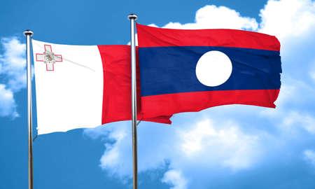 laos: Malta flag with Laos flag, 3D rendering