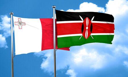 kenya: Malta flag with Kenya flag, 3D rendering