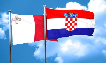 croatia flag: Malta flag with Croatia flag, 3D rendering