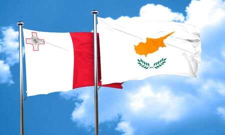 cyprus: Malta flag with Cyprus flag, 3D rendering Stock Photo