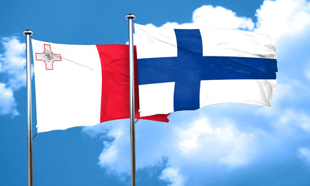 FINLAND flag: Malta flag with Finland flag, 3D rendering