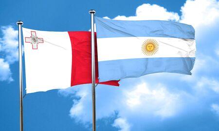 argentine: Malta flag with Argentine flag, 3D rendering