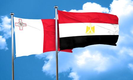 egypt flag: Malta flag with egypt flag, 3D rendering