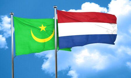 netherlands flag: Mauritania flag with Netherlands flag, 3D rendering