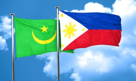 philippino: Mauritania flag with Philippines flag, 3D rendering