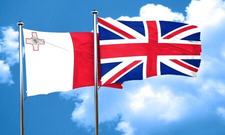 england politics: Malta flag with Great Britain flag, 3D rendering
