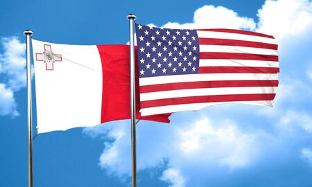 malta flag: Malta flag with American flag, 3D rendering Stock Photo