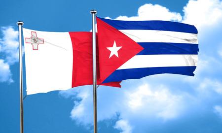 bandera cuba: bandera de Malta con la bandera de Cuba, 3D Foto de archivo