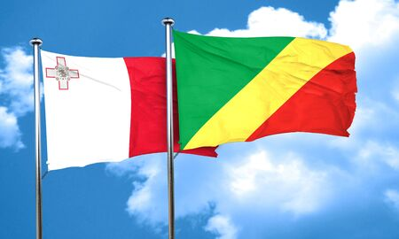 congo: Malta flag with congo flag, 3D rendering