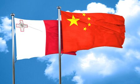 malta flag: Malta flag with China flag, 3D rendering