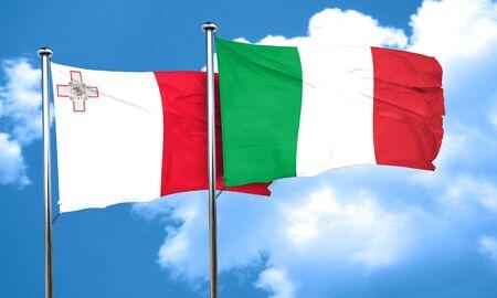 malta flag: Malta flag with Italy flag, 3D rendering Stock Photo