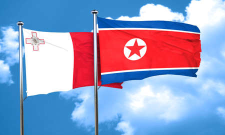 malta: Malta flag with North Korea flag, 3D rendering