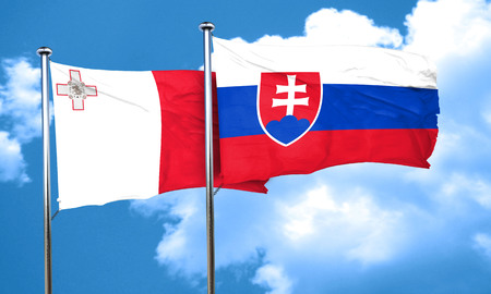 malta: Malta flag with Slovakia flag, 3D rendering