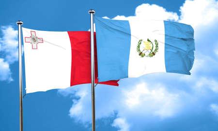 bandera de guatemala: bandera de Malta con la bandera de Guatemala, 3D