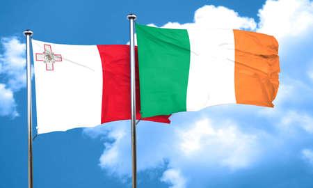ireland flag: Malta flag with Ireland flag, 3D rendering
