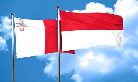 malta flag: Malta flag with Indonesia flag, 3D rendering