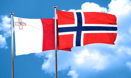 norway flag: Malta flag with Norway flag, 3D rendering