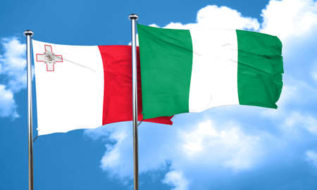 nigeria: Malta flag with Nigeria flag, 3D rendering Stock Photo