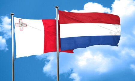 netherlands flag: Malta flag with Netherlands flag, 3D rendering