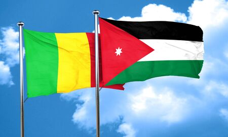 mali: Mali flag with Jordan flag, 3D rendering Stock Photo