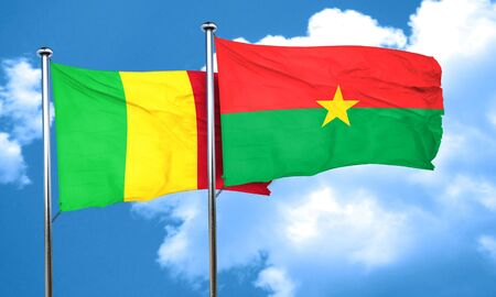 mali: Mali flag with Burkina Faso flag, 3D rendering