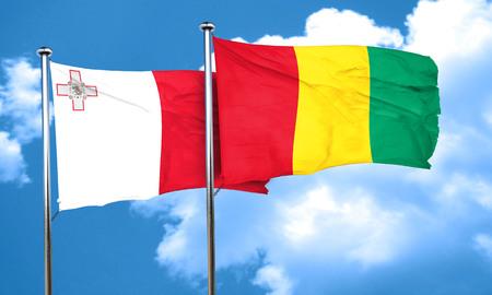 malta flag: Malta flag with Guinea flag, 3D rendering