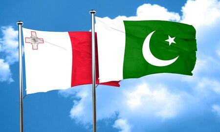 pakistan flag: Malta flag with Pakistan flag, 3D rendering Stock Photo