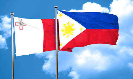philippino: Malta flag with Philippines flag, 3D rendering